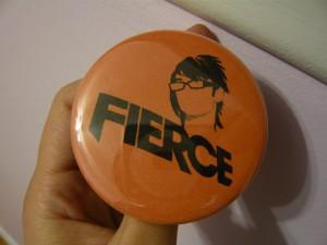Pretty Buttoner: Fierce Custom Button in Orange