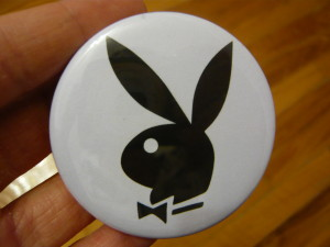 Pretty Buttoner: Custom Playboy Bunny Logo in Black/White