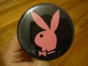 Pretty Buttoner: Custom Playboy Bunny Logo in Black/Pink
