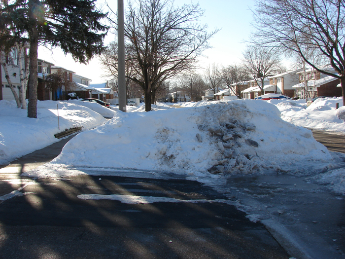 Driveway, sidewalk and snowbank, on S's side