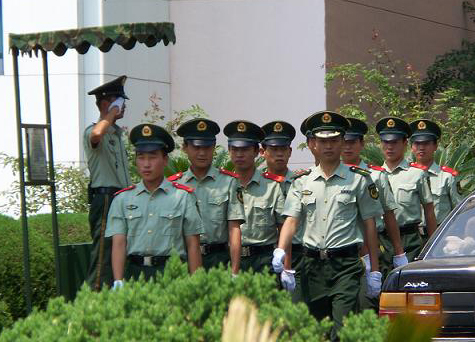 Chinese guards are everywhere, but were very strict after 6-4