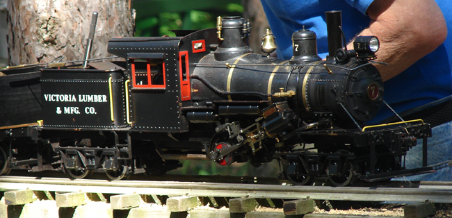 Richmond Hill Live Steamers, Victoria Lumber & Manufacturing Company locomotive no. 7, in for repairs