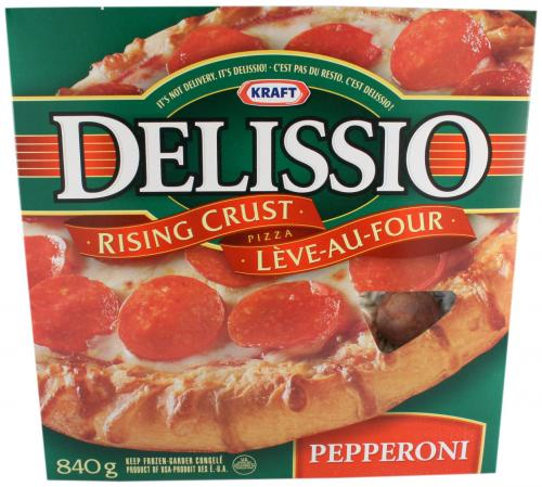 """Delissio Pizza: easy to bake but extremely salty. """"If it's not delivery it's Delissio, Oh, D'salt!"""""""