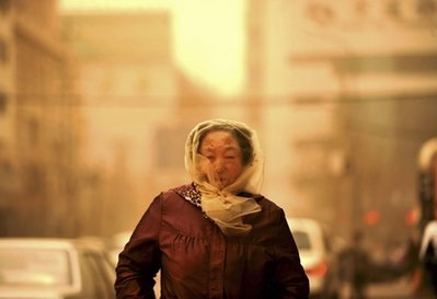 There is no shame in protecting your eyes. Sandstorm in Lanzhou, Gansu Privince, China