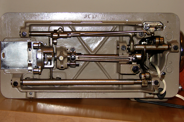 Imperial sewing machine, model 535: Bottom. Casting markings J-C 27 and 304-1