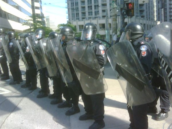 Toronto riot police with shields, meant to intimidate, Toronto G20