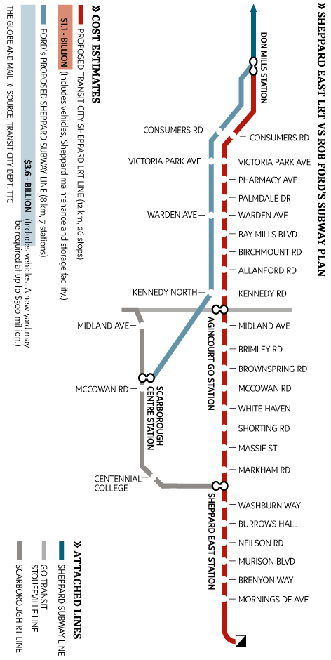 Scarborough LRT vs Subway station map, Toronto, Canada
