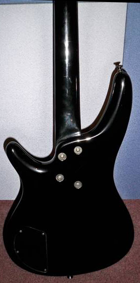 Ibanez Roadstar II RB800 electric bass, 1987: Neck connects to body with 4 Philips head bolts and washers