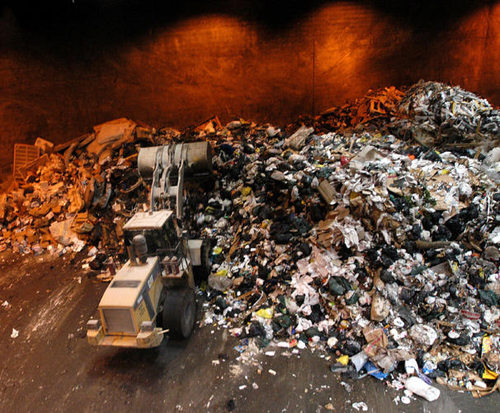 Inside a Solid Waste drop-in Depot, Toronto, Canada. Garbage everywhere.