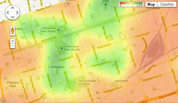 Walkscore.com and their bike scores for Scarborough, Canada, suburb of Toronto