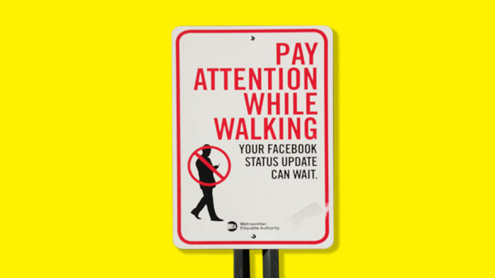 Pay attention while walking, your Facebook status update can wait, graphic, Barcroft/Getty Images