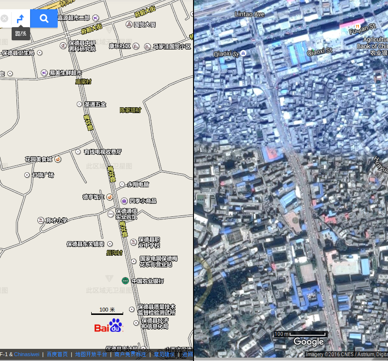 Google vs Baidu Satellite Maps: A small town in China on the border of Shanxi and Inner mongolia, on the Yellow River, 1 km long 百度比谷歌卫星地图:在中国一个小市,山西和内蒙古中间,靠黄河,一公里长。Maps by Baidu and Google. Map cutting and sewing by Don Tai.