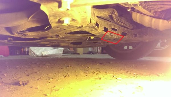 """2015 2016 Honda Fit front jack point. It is really hard to see as the car is so low, only 5.5"""""""