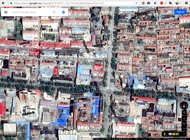 Google Satellite Map: Shandong, Changdao, Jiefang Lu, 150 meters, is the only satellite map so it stands alone in greatness. It really shows the business of the city. Some of the line map street names are overlayed but are not accurately placed.