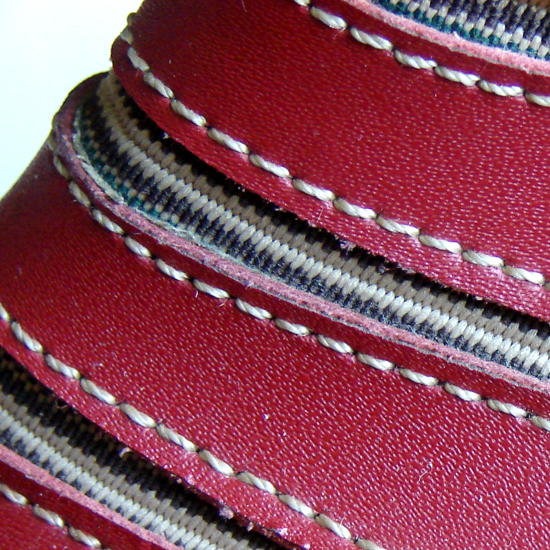 LGL leather shoes, model 369-3, oxblood leather and elastic. Macro view of leather and elastic strips. Toronto, Canada Photo 7 by Don Tai