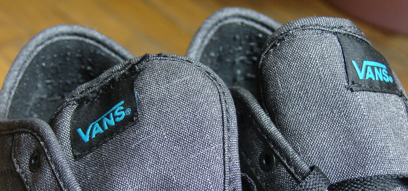 Vans Hawaiian Ocean shoes, resewn after tongue foam removal. Not a perfect sew job. Photo 3 by Don Tai