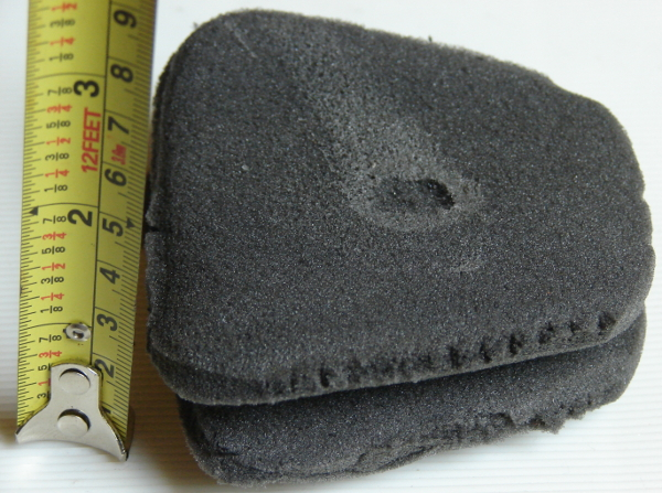 Vans Hawaiian Ocean tongue foam is 1.3mm thick and very large. Note the glue blob. We removed it. Photo 2 by Don Tai
