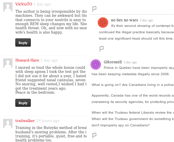 Globe and Mail newspaper is testing changes to their comments section. The existing font and style, left, is much more readable than the new and hip but less readable version, on the right.