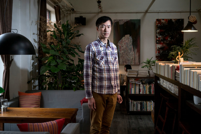 Lai Jeng-jer, a gay rights activist from Taiwan, at his Beijing cafe, Two Cities, 2012