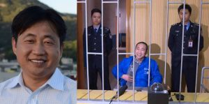 Chinese human rights lawyer Xie Yang 谢阳, in undated photo (left), and Chinese government photo (2017 Mar 02) still in jail after over 1.5 years. Though he seems to have survived his 6 months of torture, he is obviously thin. I could hardly recognize him from his photo.