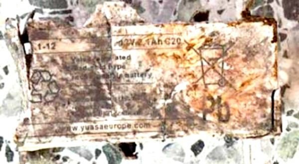 The Manchester Bomber used a Yuasa 12v 2.1aH lead acid battery, 2x. The battery marking are clear enough to identify.