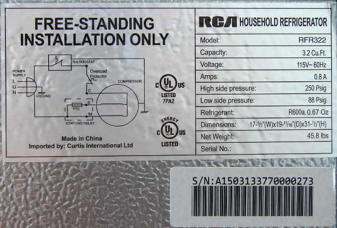 RCA fridge RFR322 died after only 5 months of use. What a waste of money and natural resources. Appliance label. Photo 4 by Don Tai