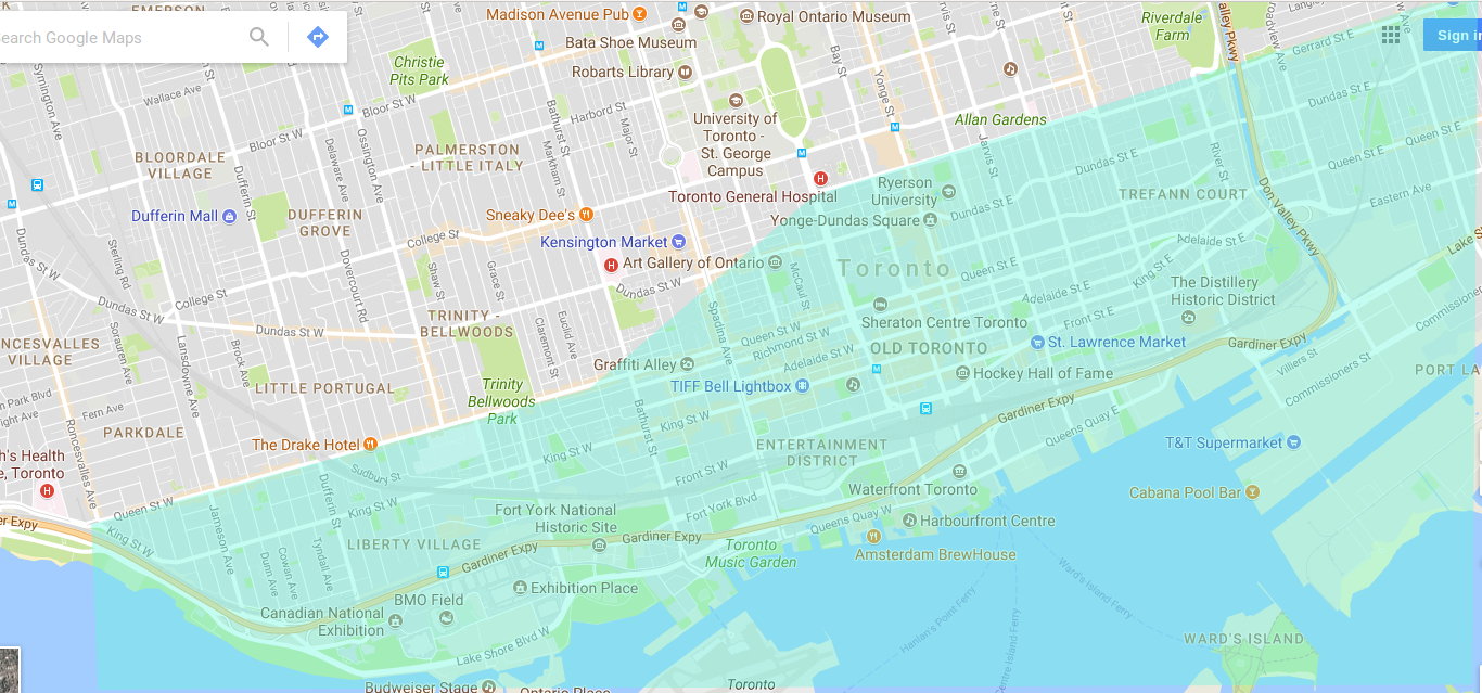 City of Toronto potential flood area, for a 50 foot or 15.25m rise in water level from Lake Ontario, which occurred in Houston 2017 hurricane Harvey. Map changes by Don Tai
