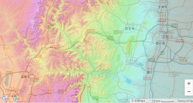 Zoomed map of Handan,  Changzhi, Licheng and Dongyangguan, overlayed with a topographical map. Shahe, Xingtai is just in view at the top right. From Google Maps and topographic-map