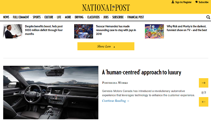 National Post deceptive advertising in their Driving section, 2017 Sept 30, photo 1