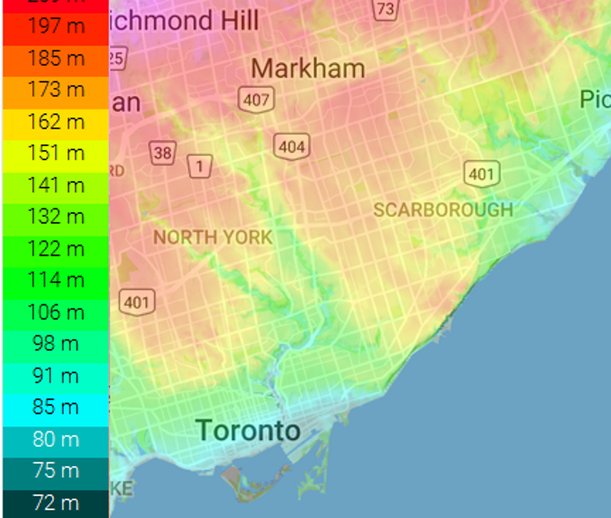 City of Toronto topological map. If waters did rise as in Houston of 50' or 15m, all the blue areas would be flooded.