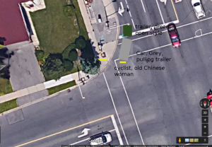 Car bicycle crash in Scarborough, Toronto, Canada 2017 Oct 20 11:40am. The driver of the minivan did stop at the red light but did not look for pedestrians or cyclists, and hit an old Chinese lady on a bicycle.