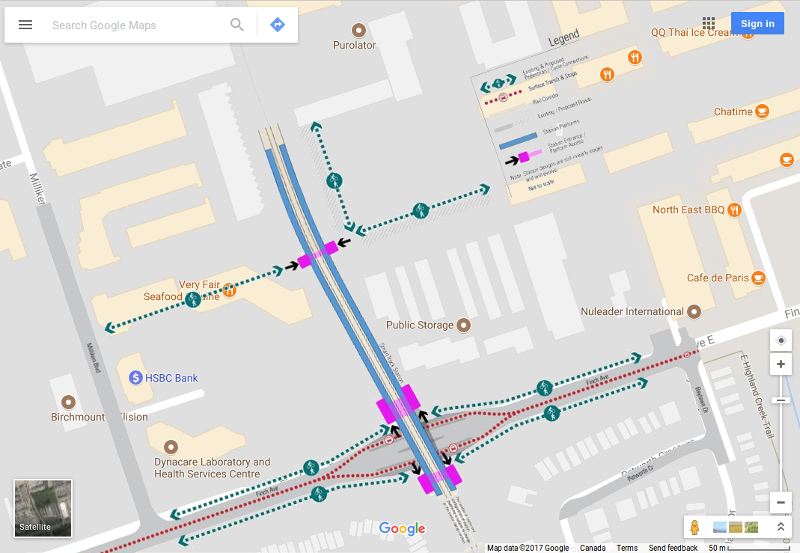 SmartTrack Finch East Go station at Kennedy/Finch. Google map superimposed with one from UrbanToronto.