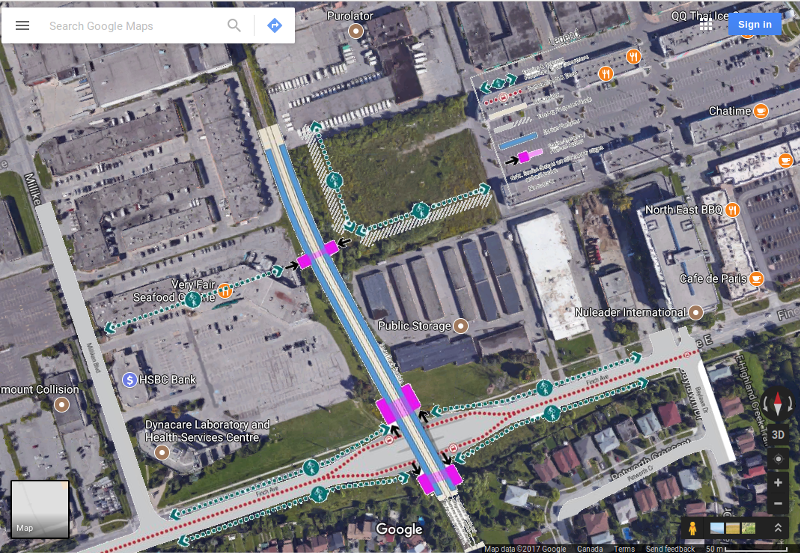 SmartTrack Finch East Go station at Kennedy/Finch. Google sattelite map superimposed with one from UrbanToronto.
