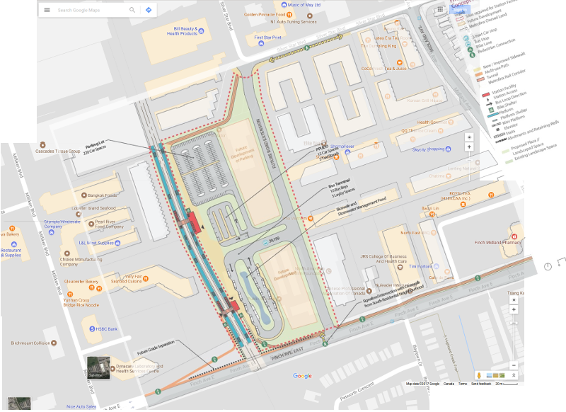 SmartTrack Finch East Go station at Kennedy/Finch. Google  map superimposed with one from Metrolinx.