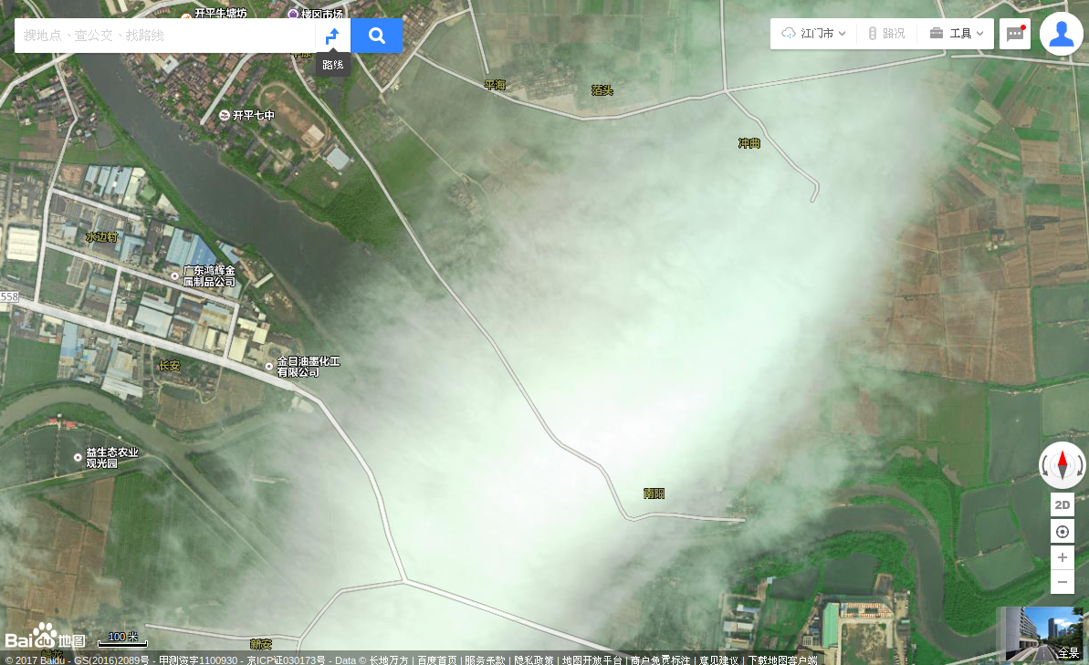 China, Guangdong Province, Kaiping City, west 8km, Nanyang Village (Lougang). Baidu Maps, village under cloud cover.