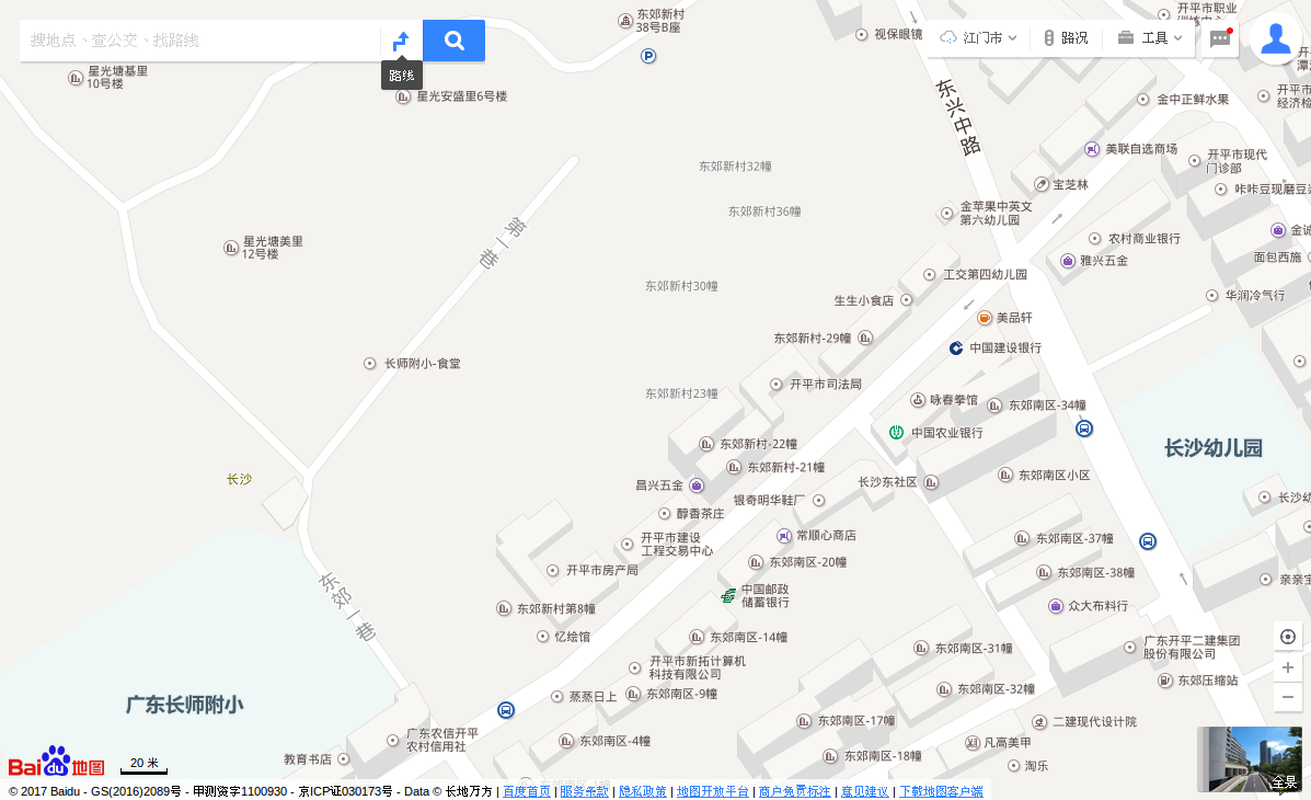 China, Guangdong Province, Kaiping City, Changsha District, east side, Baidu Maps