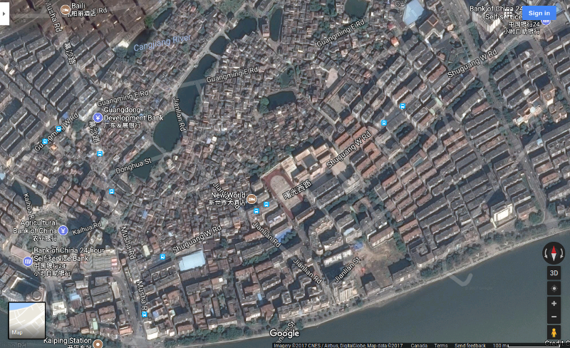 China, Guangdong Province, Kaiping City, Changsha District, satellite, Google Maps. All labels and roads are not accurate, but match these up to the Baidu map.