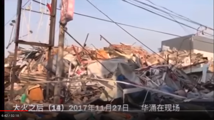 China, Beijing, Daxing, Xinjian Cun, after demolition, where the government has destroyed the neighborhood of migrant workers and evicted everyone. SE of the North Gate. Youtube, Hua Yong