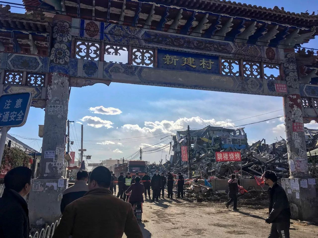 China, Beijing, Daxing, Xinjian Cun, where the government has destroyed the neighbourhood of migrant workers and evicted everyone. South Gate