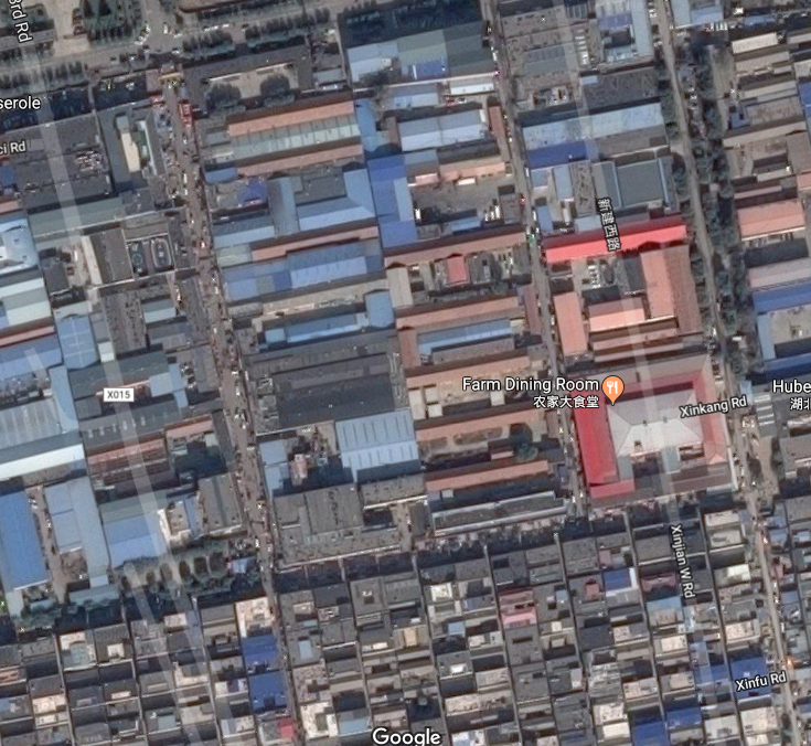 Jufuyuan Gongyu hotel, Xinjian Cun, Daxing Qu, Beijing, China fire, killed 17 people. 2017 Nov 19. Prompted Beijing to expel migrant workers. Sat map showing the North Gate and the hotel, close to Farm Dining Room. Google
