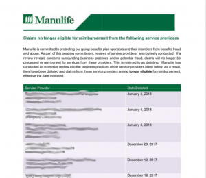 Manulife blacklist of health services providers provided in PDF but all pages are images. You therefore cannot copy or search the 22 pages.