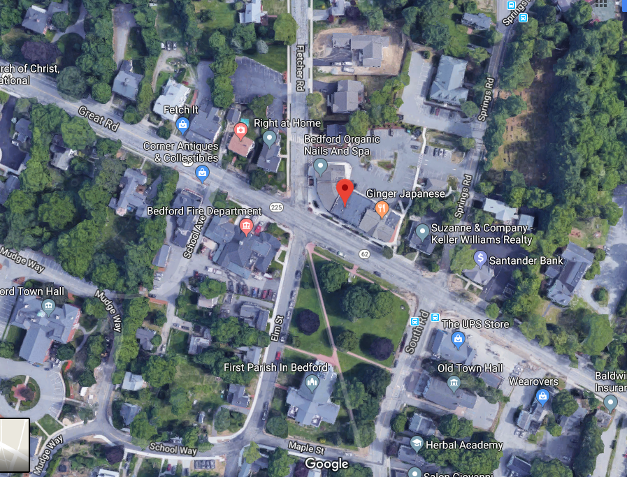 Locate in Bedford, Mass, using Google Maps satellite. Note the detail and landmarks