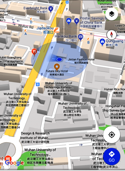 Jiedaokou, Wuhan, China, map location from user physical location, from Google Maps 30.524439,114.353266