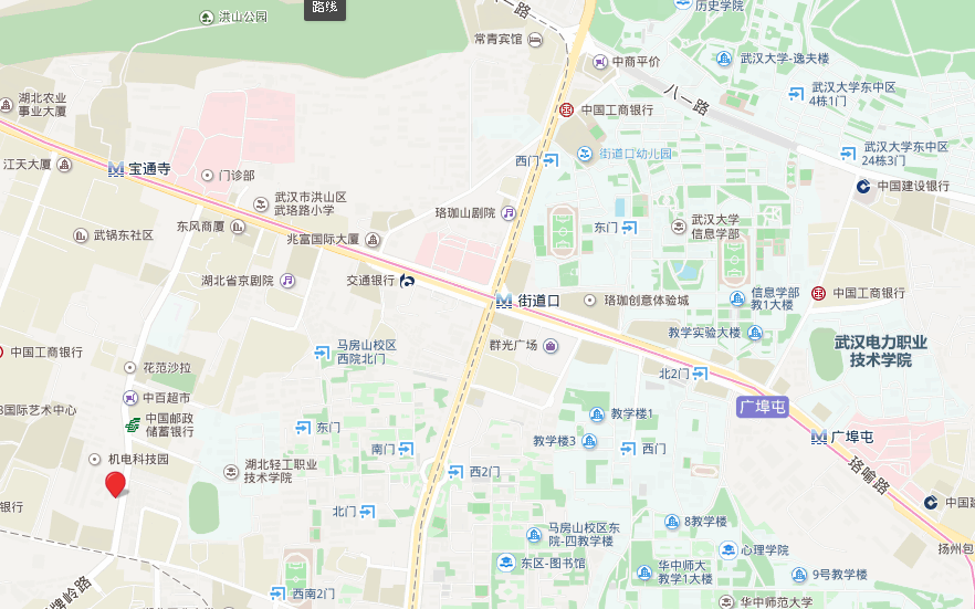 Jiedaokou, Wuhan, China, at the Future City Hotel, Weilai Cheng Da Luguan. Baidu maps is 1.2km south west.