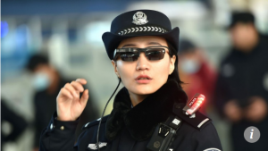 Facial recognition sunglasses used by Chinese police in Zhengzhou, Henan Province during Chinese New Year.