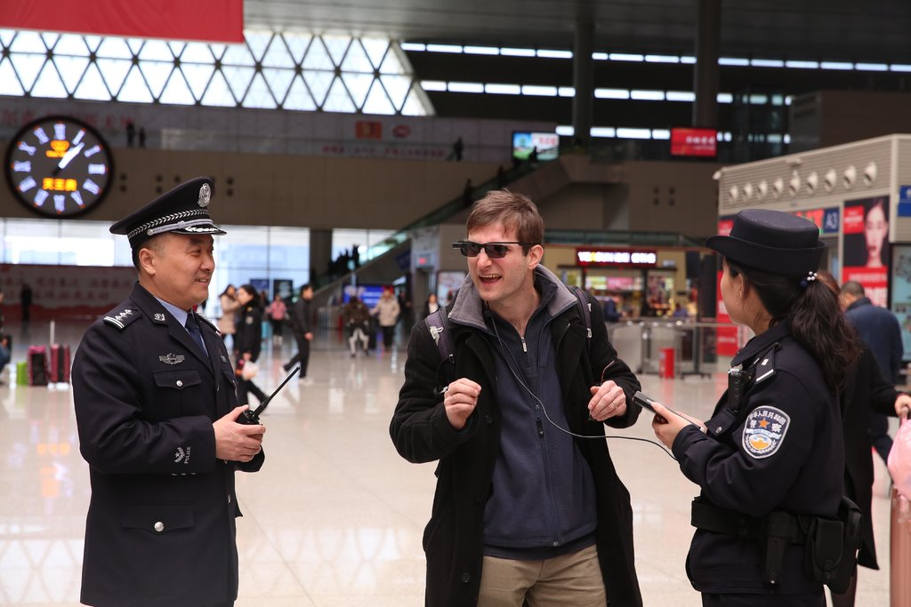 New York Times reporter tries China's facial recognition glasses in Zhengzhou, China