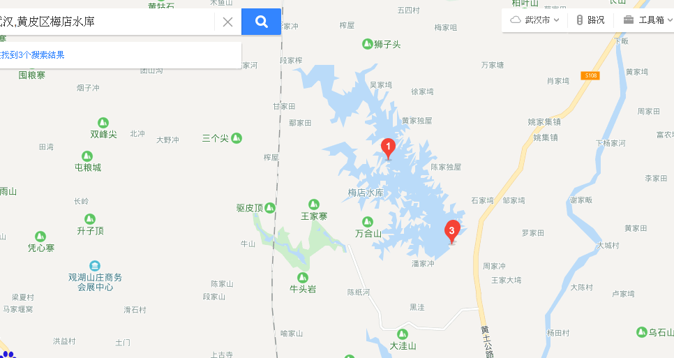 The Wuhan Meidian Reservoir is about 60km north of Wuhan. 梅店水库 Baidu Maps 8P3P6836+2X