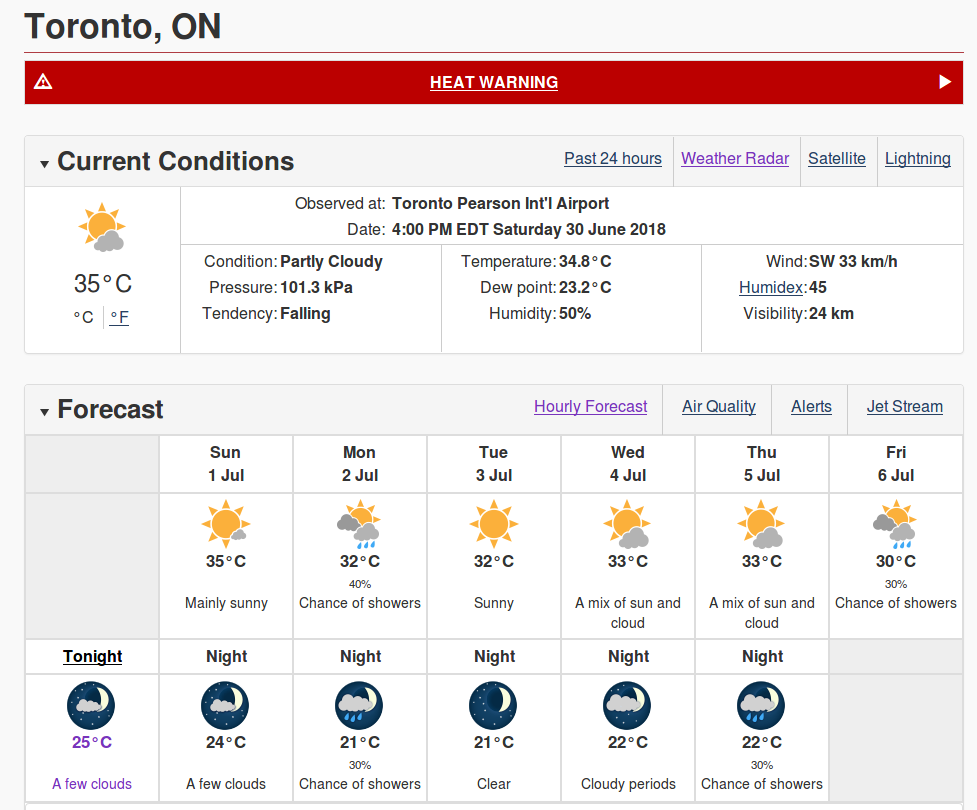 Unusually hot 36C weather for Toronto that came up from the US. We are melting...