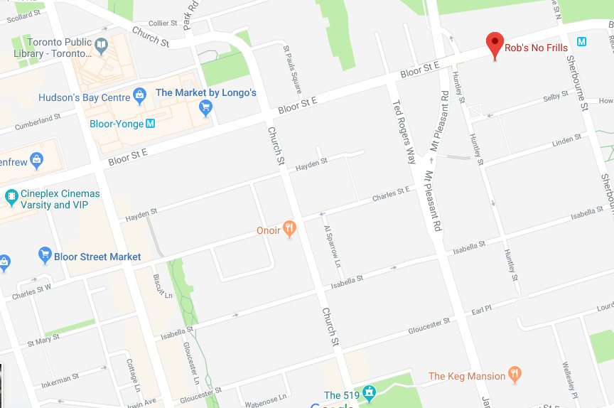 Charles Street, near  Bloor Street, Downtown Toronto, Google Maps