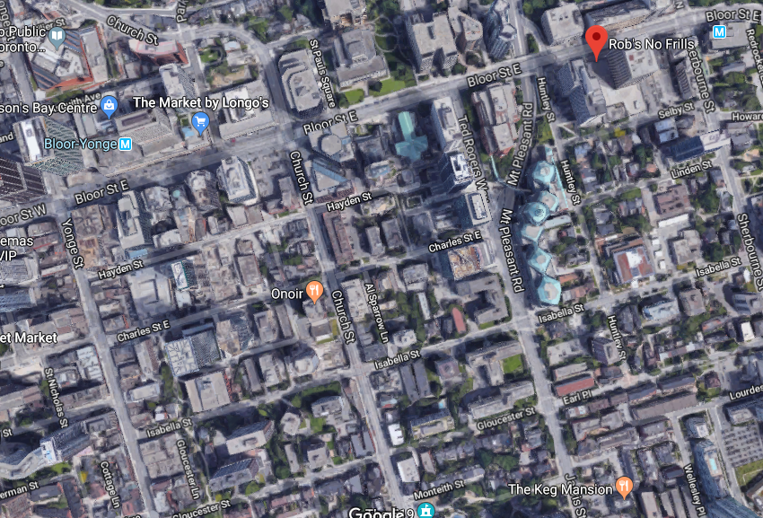 Charles Street, near  Bloor Street, Downtown Toronto, satellite, Google  Maps